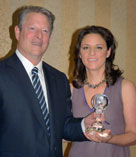 Al Gore presents Mai Iskander with award  at the Nashville Film Festival