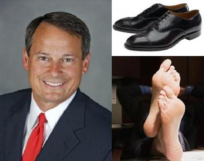 Recipe for Success in Fighting Global Warming: Take One Well Dressed Corporate Executive (left), Remove His Expensive Shoes and Socks (below rght) and Create Instant Energy Savings! (below right)